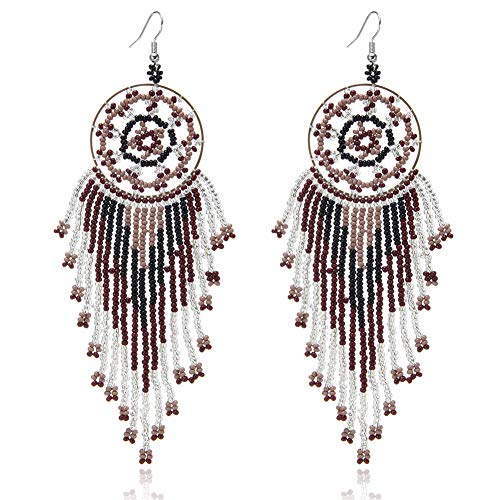Royalbeier Beaded Earrings Oversized Handmade Seed Beaded Drop Earrings Long Beaded Navajo Indian Dangle Earrings for Women Ladies (DCE-02)