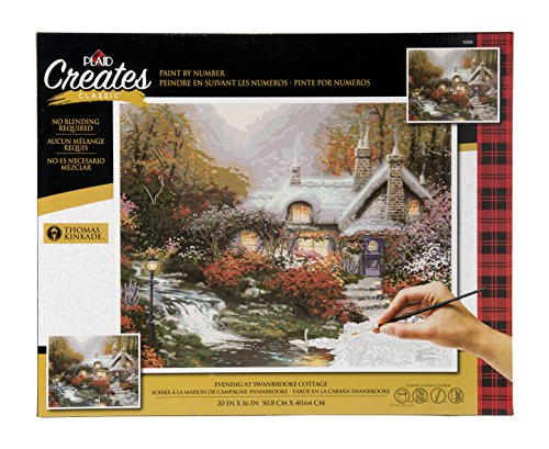 Plaid Creates Paint by Number Kit (16 by 20-inch), 13393 Evening at Swanbrooke Cottage by Plaid Creates