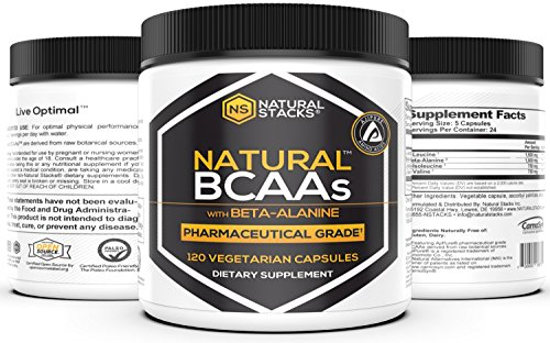 Natural Stacks Natural BCAAs w/Beta-Alanine Capsules (120 Count) - Amino Acids - Vegetarian (Stack Powder Bcaa)