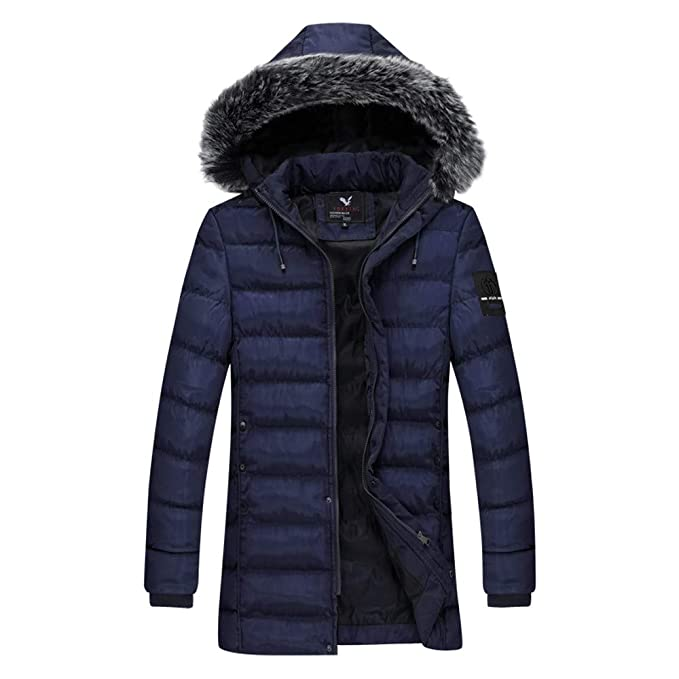 Amazon.com: FreshZone Mens Winter Hoodie Fur Collar ...