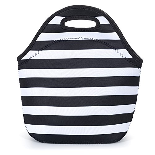 Neoprene Lunch Bag, Eco- Friendly Lunch Tote Bag For Women And Adults. Waterproof Insulated Travel Cooler Lunch Box- Black White Stripes