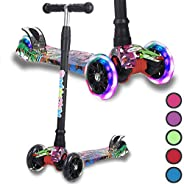 Kick Scooter for Kids, 4 Adjustable Height, Lean to Steer with PU Light Up Wheels, Training Balance Toys for C