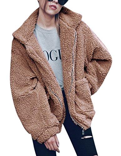 Women's Fashionable Shearling Short Boyfriend Style Fleece Coat Zip Up Plus Size Jacket with Pockets S Brown -