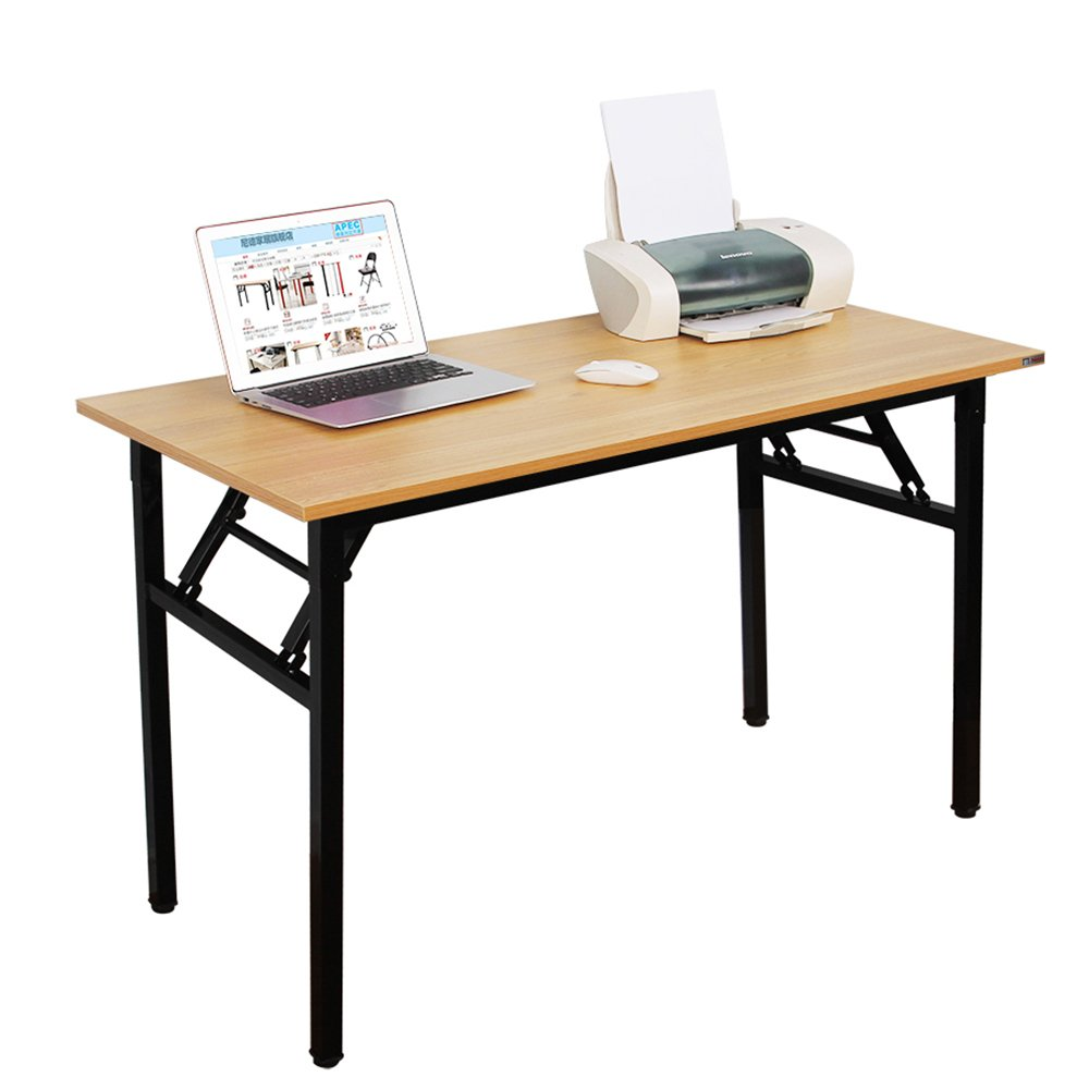 Need Computer Desk Office Desk 55'' Folding Table Computer Table Workstation No Install Needed, Teak
