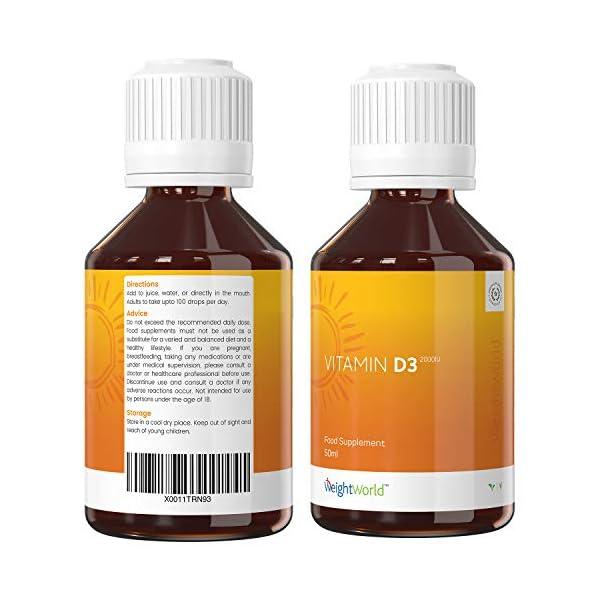 Vitamine D en Gouttes 2000 ui – D3 100 ml Vegan 100% Naturel WeightWorld   Équivalent à la Vitamine D Ampoule…