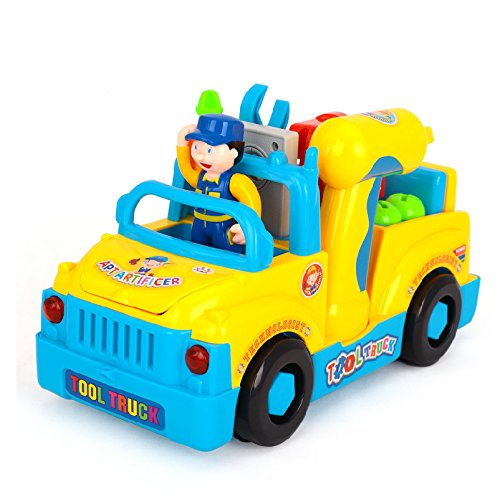 FMT Truck Take Apart Toys for Boys Girl With Electric Drill and Various Take-A-Part Tools, Lights and Music, Construction Car Stem Toys for Kids