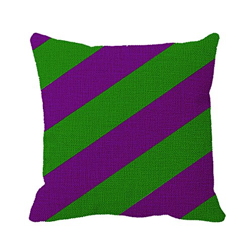 Smity 106 Pillowcase Purple and Green Stripes Print Mouse Mat Outdoor Pillow Cover for Sofa or Bedroom