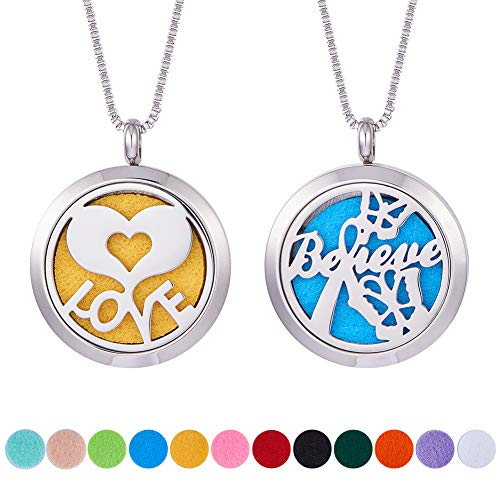 BENECREAT 2PCS Aromatherapy Essential Oil Diffuser Necklace Stainless Steel Butterfly & Heart Love Locket Pendant with 2 Strand 24