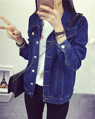 Stile Dunkelblau Autunno Primaverile Base Giovane Bavero Tempo Donna Ragazze Lavato Jeans Relaxed Blu Moda College Cappotto Libero Giacca Maniche Lunghe Cute Tendenza Chic cgnPBqH