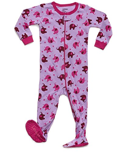(Leveret Kids Elephant Baby Girls Footed Pajamas Sleeper 100% Cotton (Size 12-18 Months))