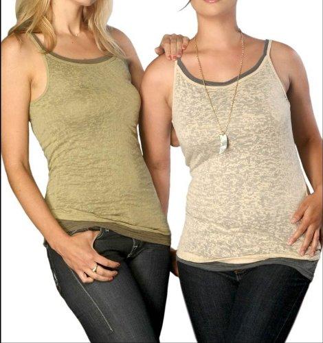 Womens Burnout Spaghetti Strap Tank Top nude 2-x- large
