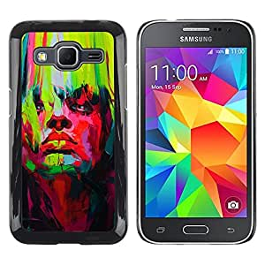 LECELL--Funda protectora / Cubierta / Piel For Samsung Galaxy Core Prime SM-G360 -- Bright Vibrant Colors Green Red Painting --