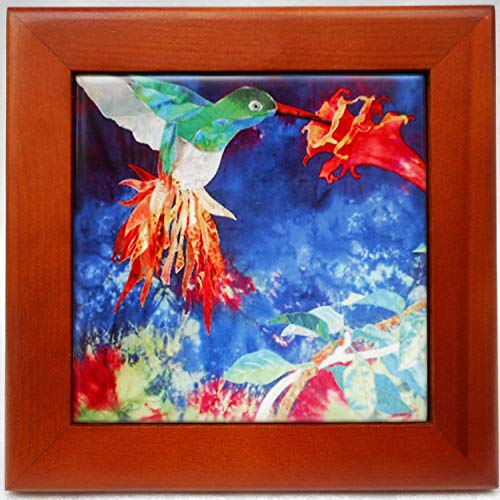 (Wood Framed Ceramic Tile Trivet with Hummingbird Art, Kitchen Decoration, Birthday Housewarming Gift)