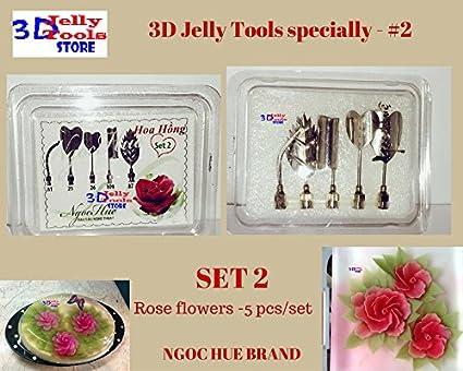 644502d3b 3D pastel de gelatina herramientas especialmente - tipo 2 - rosa flores - 5  piezas/