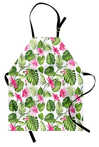 Lunarable Leaf Apron, Hawaiian Hibiscus Crystal Pink Flower with Palm Tree Leaves Art Print, Unisex Kitchen Bib Apron with Adjustable Neck for Cooking Baking Gardening, Green Pink