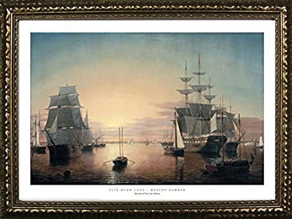 Amazon com: Framed Boston Harbor by Fitz Hugh Lane 24x36 Art