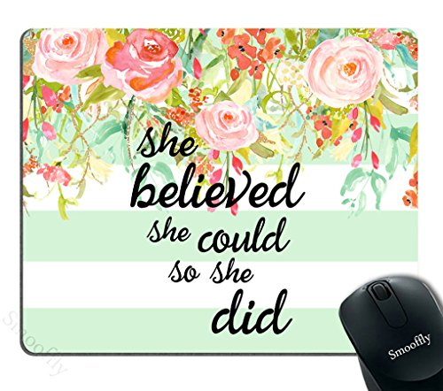 Smooffly Gaming Mouse Pad Custom,She Believed She Could Mint Stripe Mouse Pad - Neoprene Inspirational Quote Mousepad