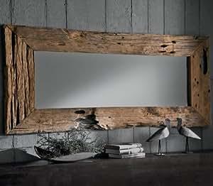 """Espejo de diseño """"MIRRO"""" macizo teca-marco de madera vieja"""