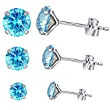 Yan & Lei Sterling Silver Ear Studs Set of 3 Pairs with Round Rhinestone in 4 mm, 5mm and 6 mm