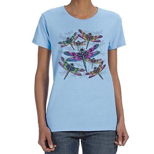 Nnnb Women's Dragonflies Light Blue T-Shirt,T Shirt,Tee