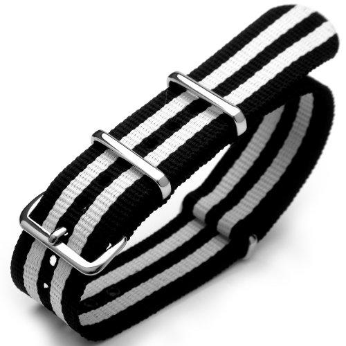 22mm G10 Nato James Bond Nylon Strap Polished Buckle - J10 Double Black & White