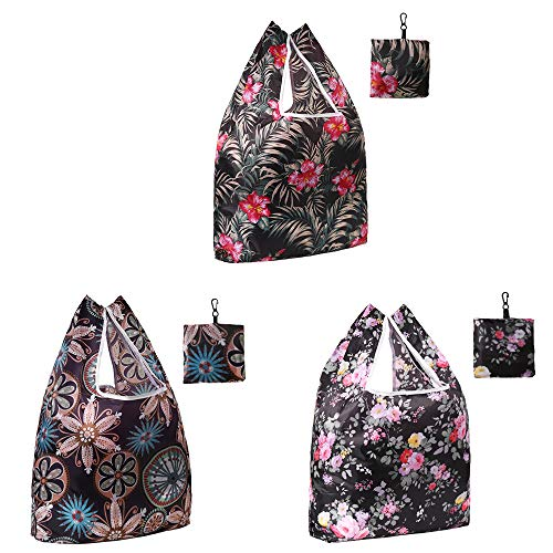 WARMWIND Reusable Grocery Bags, Foldable Shopping Bag, 3-Pack Capacity Bags with Pouch, Waterproof Fabric Cloth Bag, Durable and Eco-Friendly