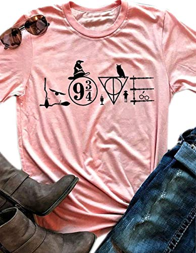 Love Witch Hat Shirt Funny Letter Print Halloween Short Sleeve T-Shirt Top (Large) -