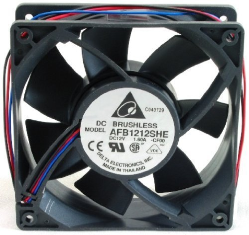 Delta AFB1212SHE-CF00 120 x 120 x 38mm Cooling Fan, 190.48 CFM, 55.5 dBA, 4100 RPM, 1.6A, 3 pin Tach. Ship from USA !!