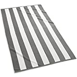 Kassatex Cabana Stripe Beach Towels, Set of 2-Grey