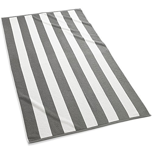 Kassatex Cabana Stripe Beach Towels, Set of 2-Grey by Kassatex