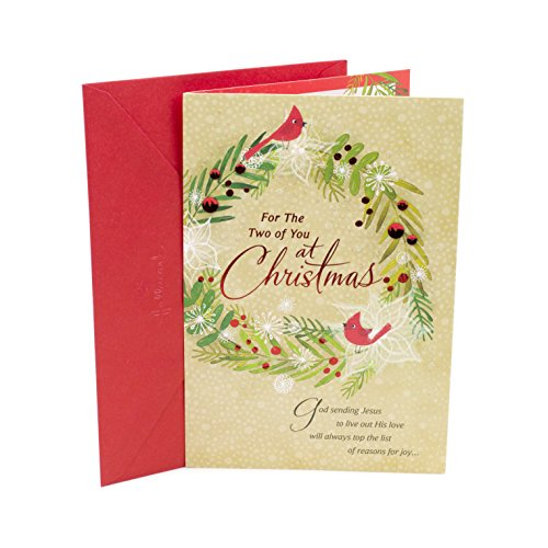 Beautiful Holiday Wreath - DaySpring Religious Christmas Card for Couple (Cardinals Wreath)