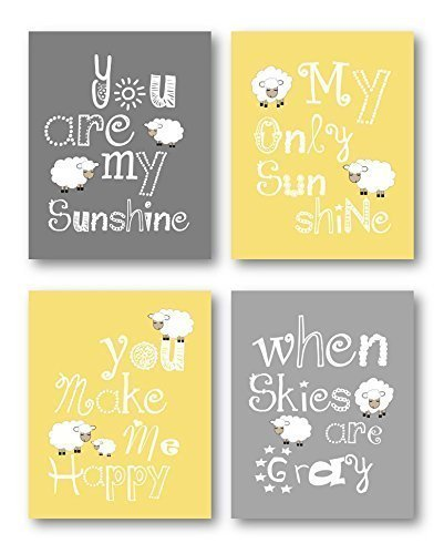 Amazon.com: Yellow and Gray Nursery Decor, You Are My Sunshine Art ...