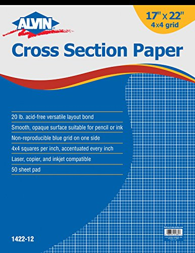 Alvin 1422-12 Cross Section Paper 4 x 4 Grid 50-Sheet Pad (17'' x 22'') by Alvin