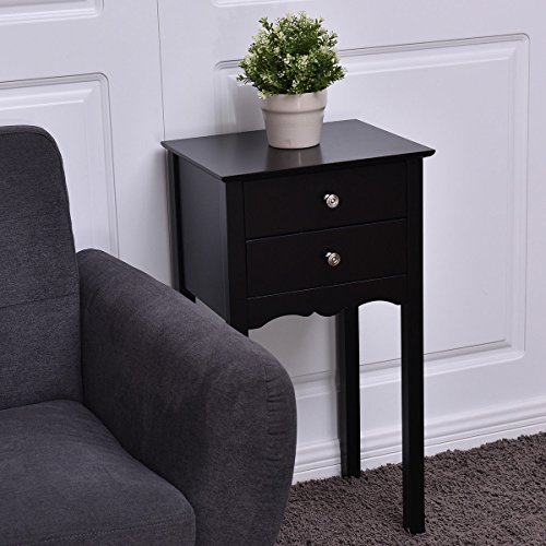 Black Side Table End Accent Table Night Stand With 2 Drawers Furniture - 2 Drawer Painted Side Table