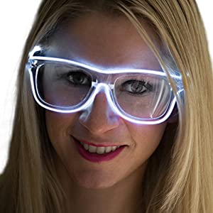 Neon Nightlife White Frame/Clear Lens Wayfarer 55mm Light Up Glasses