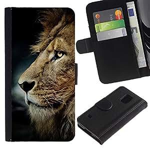 KLONGSHOP / Tirón de la caja Cartera de cuero con ranuras para tarjetas - Lion Mane Golden Brown - Samsung Galaxy S5 V SM-G900