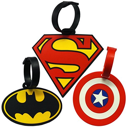 Super Heroes Theme Luggage Tag/ID Tag set, Set of 3 (Theme Tag Luggage)