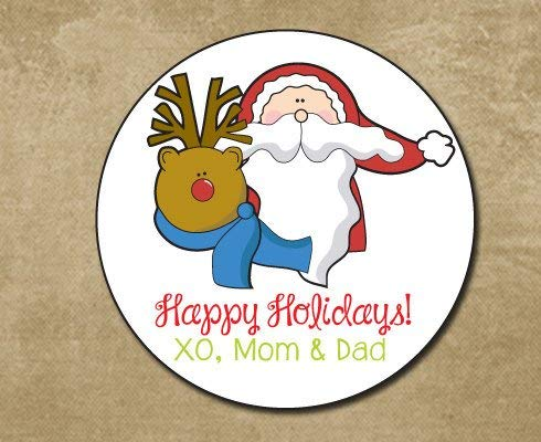 Rudolph and Santa Stickers Holiday Round Gift Labels Personalized Christmas Gift Stickers Santa Claus Labels (Rudolph Cookie)
