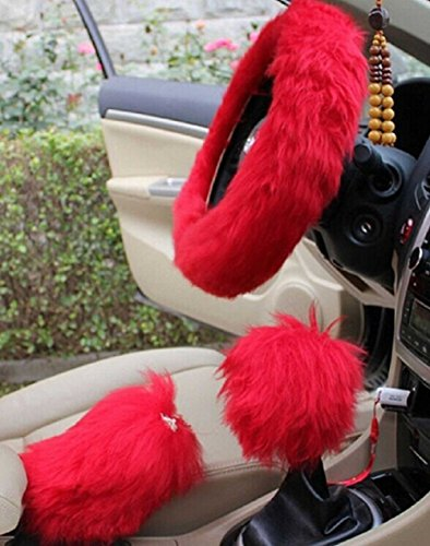 Semi Automatic Gearbox (WENDYWU Faux Wool Winter Warm Universal Handbrake Cover Gear Shift Cover Steering Wheel Cover Guard Truck Car Accessory 1 Set 3 Pcs (Red))