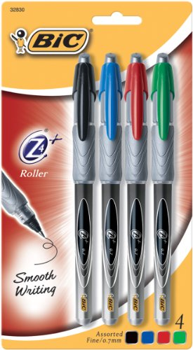 BIC Z4+ Roller Ballpoint Pen, Fine Point (0.7mm)-Assorted-4 ct