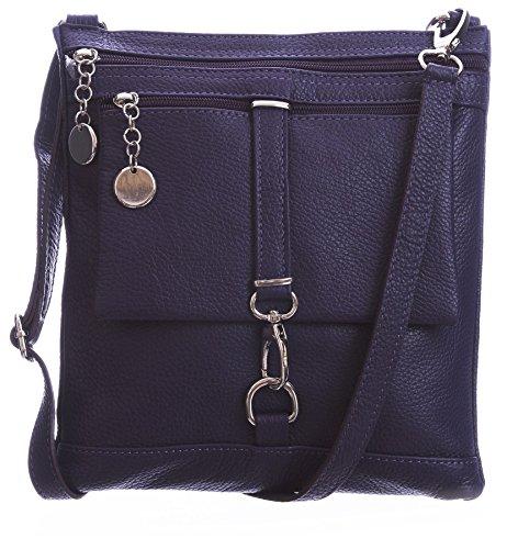 BHBS Damen Kreuz Körper Umhängetasche Aus Echtem Italienischem Leder 24 x 28 x 5 cm (B x H x T) Purple (BG460) c1mbm