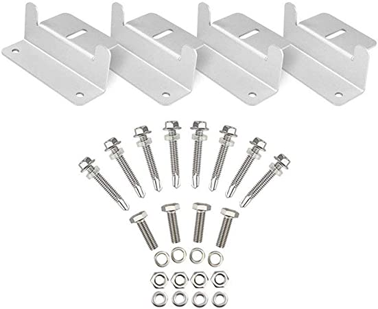 4 Set Yaegoo Solar Panel Mounting Z Brackets Kit with Nuts and Bolts for RV Camper,Boat,Wall and Other Off Gird Roof Installation,A Set of 4 Units