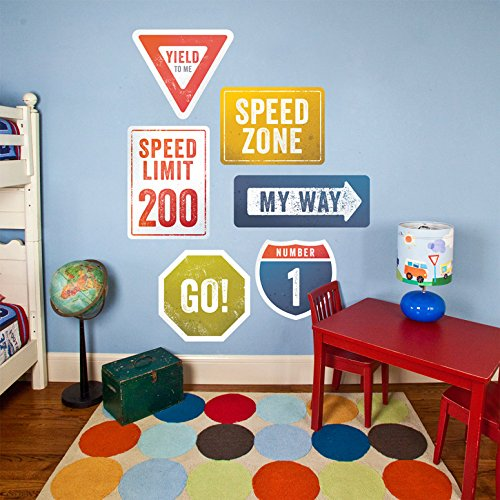 Oopsy Daisy Road Signs Peel and Place, Multired, 54