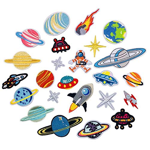 - 24 pcs/Set Embroidery Patches Outer Space Planet Pattern Sew On Patches Iron On Patches for Clothes Badges Sticker for Jeans