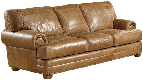 Amazon.com: Houston Leather Sofa Color: America - Hazelnut ...