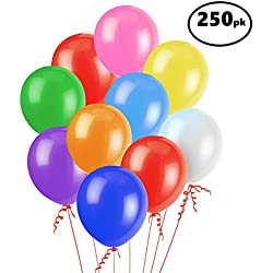 "Assorted Color Party Balloons (250 Pcs) – Lets Party with a Pack of 12"" Latex Balloons – Perfect for Kids Birthday Parties, Events, or Activities – Fun & Colorful, Easy to Inflate Ball Balloons"