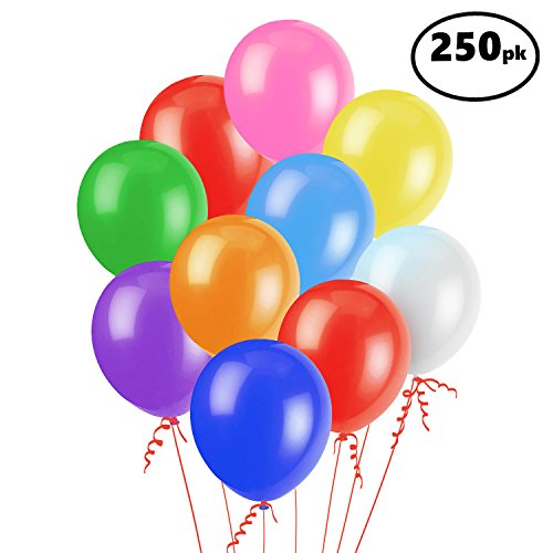 "Assorted Color Party Balloons (250 Pcs) – Lets Party with a Pack of 12"" Latex Balloons – Perfect for Kids Birthday Parties, Events, or Activities – Fun & Colorful, Easy to Inflate Ball Balloons ()"