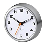 Bathroom Clocks mDesign Suction Clock for Bathroom - Brushed Stainless Steel