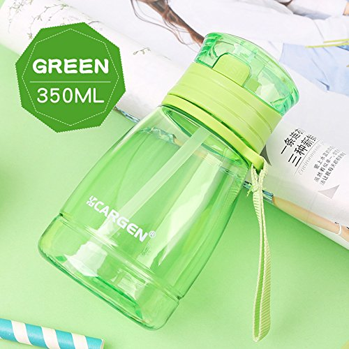 UPSTYLE 0.35L Sippy Cup Food-Grade portable Children Mini outdoor Sports Water Bottle with Straw and Rope One key to open Girl's Bottle Juice milk Cup for Kids,11.8oz(Green) - Non Flip Base
