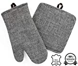 Pot Holder and Oven Mitt Set, Genuine Leather Hanging Loop, Chambray Cotton Blend, Softens with Washing, Heat Resistant, Machine Washable for Cooking, Baking, Grilling (Grey) Set of 2